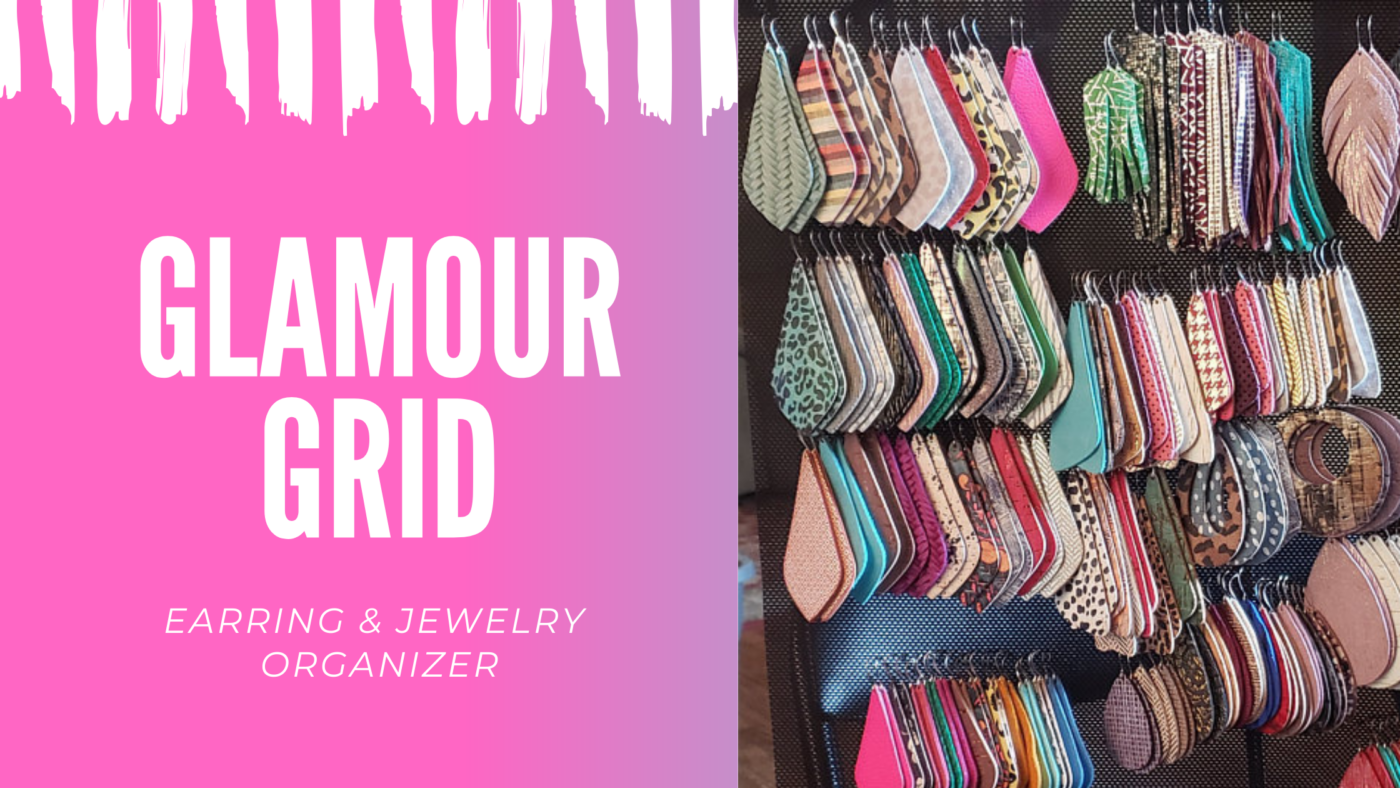 Written words of glamour grid on the left side of the photo with pink background right side of photo is of earrings organized neatly on a glamour grid